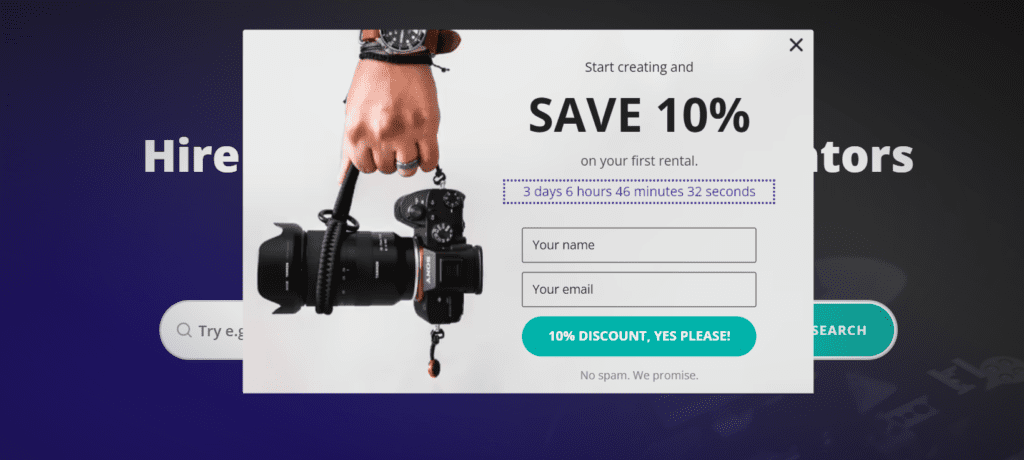 A timely popup with a limited-time offer.